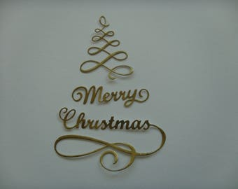 """Cutout tree in 3 parts paper sticker sticker gold """"Merry Christmas"""" for creation"""