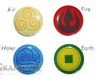 Fan-made Avatar The last Airbender cosplay inspired personalized buttons