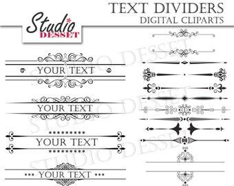 Text Dividers, Wedding Invitations, Calligraphy Clipart Set, Elegant Headers, Digital Clip Art Borders, Invitation Wedding Frames, C216