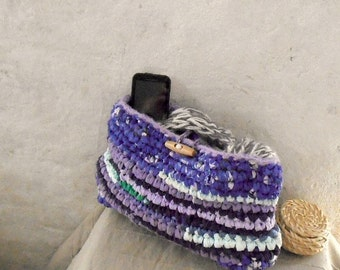 Purple crochet rag bag with recycled plastic bag yarn
