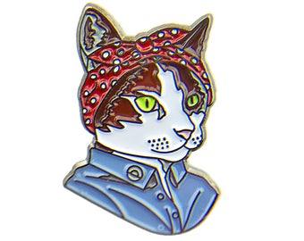 Enamel Pin - Feminist Cat - Ryan Berkley Illustration - Pin - Dapper Animals - Gift For Her - Cat Gift