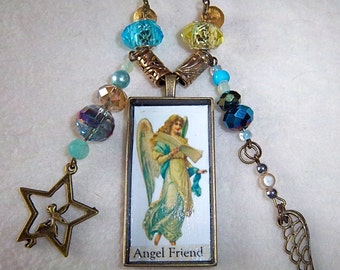 Angel Friend brass pendant brass chain necklace in turquoise and lemon yellow No.89