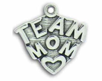 5 Silver Team Mom Charm Pendant for Baseball, Basketball, Football, Volleyball and Soccer Gifts 19x19mm by TIJC SP0462