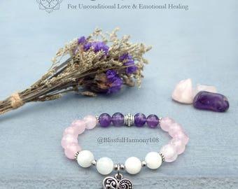 Love Bracelet, Rose Quartz, Moonstone, Amethyst, Wrist Mala, Yoga Jewelry, Spiritual Jewelry, Healing Jewelry, Chakra Bracelet Jewelry