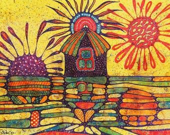 House of sunrise and sunset