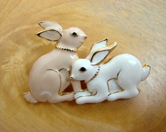 American vintage Easter Brooch with two charming Bunnies. Labeled SFJ (Santa Fe Jewelry, America).