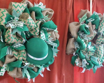 St. Patrick's Day Burlap Wreaths for double doors. Rustic St. Patrick's Day double door wreaths.  Double wreaths.