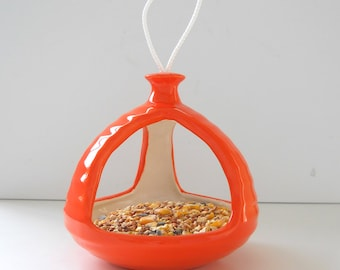 Bird Feeder Atomic Retro Home Ceramic Planter Hanging feeder Orange Bird Bath Garden Decor Succulent Planter Mid Century Decor MCM Handmade