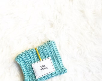 Personalized Mug, Stay Weird Knit Coffee Mug Cozy, Cosy, Knitted Coffee Mug Cozy, Womens Gift, Cup Cozy, Knitted Cozy, Personalized Gift