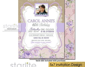 60th Birthday Invitation with Photo, Floral 60th Birthday Invitation for Women, Lavender Lilac 60th Birthday Photo Invitations ANY AGE