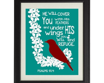 Bible Verse Print / Whimsical Bird 8x10 / Wall Art / Custom Colors Available / Interior Design / Religious Art / Home Decor / Whimsical Art