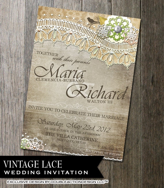 rustic wedding invitation rsvp diy wedding invite rsvp with lace and vintage elements rustic background wedding stationery lace - Vintage Lace Wedding Invitations