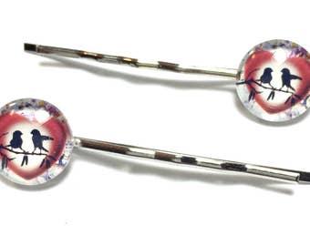 Love Bird Bobby Pins, Heart Bobby Pins, Heart Hair Accessory, bird Hair Accessory, Petite Hair Decoration, bird bobby pin