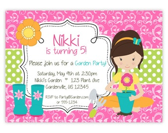 Garden Invitation - Pink Damask, Lime Polka Dots, Fun Brunette Girl Garden Party Personalized Birthday Party Invite - Digital Printable File