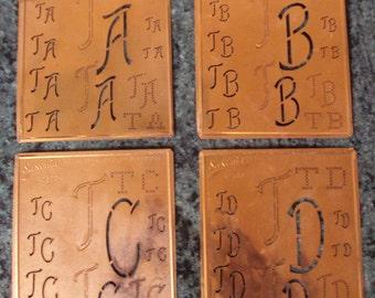 Antique German Copper Stencil Initials Ta Tf Th Tj  Tl Tm To Tr Ts Tu Tv Tz Decorative Embroidery 1920,s Kupfer Schablone