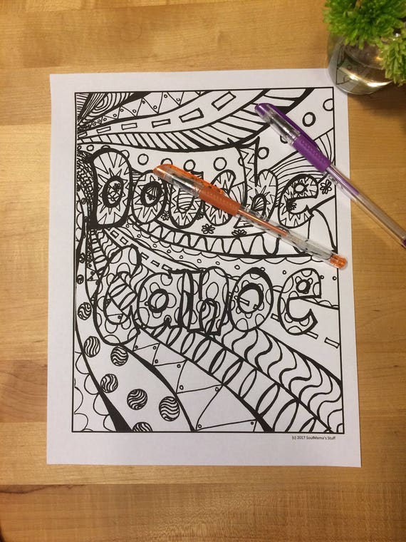Douche Canoe Adult Coloring Page Digital Download Swear