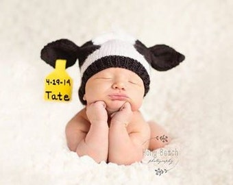 Knit Holstein PDF PATTERN for Baby Hat, downloadable pattern only