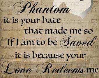 Phantom of the Opera, Graphic Quote Print