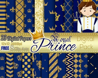 Royal Prince Boy Blue & Gold Digital papers, Gold Crown Digital Free Clipart, Birthday, Scrapbooking Paper Party Theme Royal Baby Shower