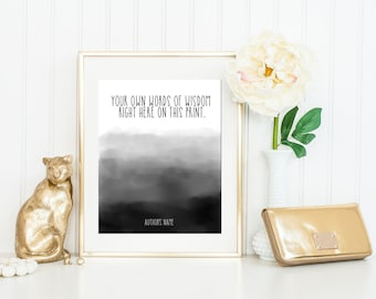 Dorm Art / Custom Watercolor Quote / Custom Quote Print / Personalized Watercolor Print / Up to 13x19 / Custom Poster / Ombre Watercolor