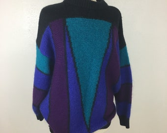 Vintage color block geometric print oversized sweater Katherine Bishop 3X