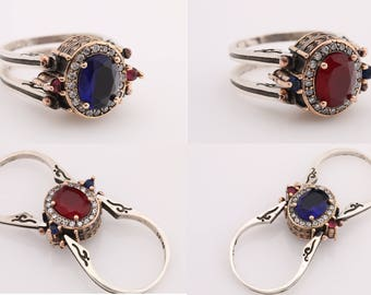 Extraordinary Ring! Two in a One Ring Reversible Ottoman Style Oval Cut Blue Sapphire Ruby and White Shiny Topaz 2 Band Woman Ring All Sizes