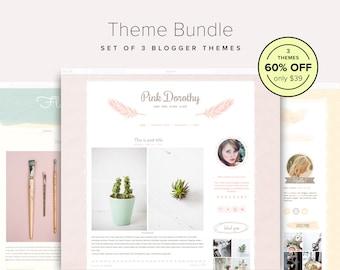 Blog Template Bundle — 60% OFF — Set of 3 Girly Blogger Templates — Blogger Theme Bundle — Cute Blog Design — Blog Bundle — Blog Sale
