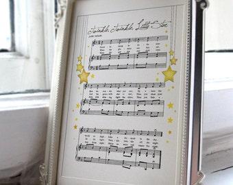 Twinkle, twinkle, Little Star Nursery Rhyme Songsheet Print, 8 x 10 format instant download