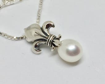 Fleur de Lis Necklace\Silver\White Pearl Pendant\Christmas Necklace