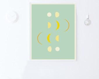 Mint Green Nursery Printable Wall Art Print-Moon Phases Decor-Moon Phases Print-Mint Green Wall Art-Mint Green Decor-INSTANT DOWNLOAD 16x20