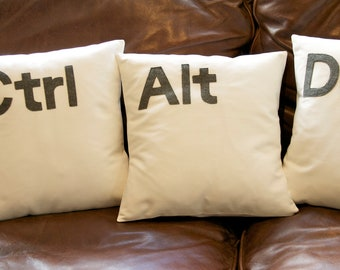Ctrl - Alt - Del Computer key cushion pillow cover set ivory / black / Grey 16 ''