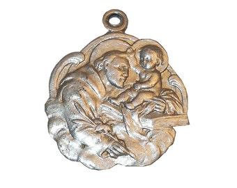 """7/8"""" Vintage 1960's Saint Joseph Medal, Aluminum Patron Saint of Fathers and Carpenters"""