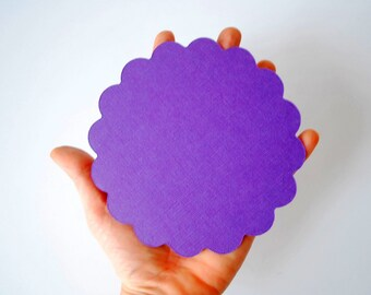 Circle Die Cut, Scalloped Circle, Scallops for Banner (5.0 inches) Scalloped Circle Die Cuts in Textured Cardstock A112