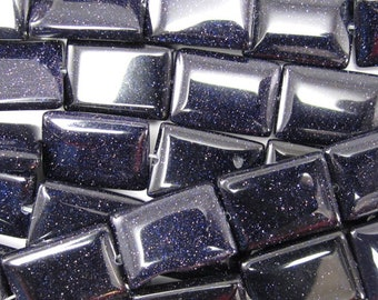 "18mm blue goldstone rectangle beads 15.5"" strand 35068"
