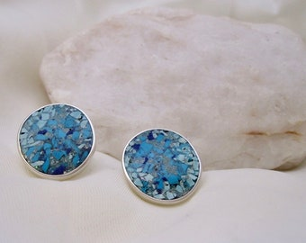 Big blue button stud earrings - handmade in sterling silver with lapis, turquoise and chrysocolla gemstone chip inlay
