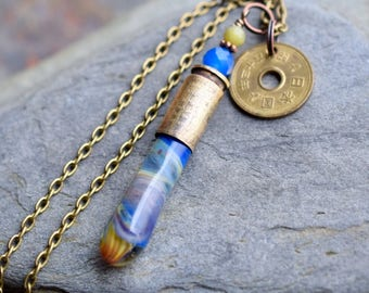 Glass Bullet Casing Necklace Boro Lampwork Brass Pendant Coin Jewelry Blue Denim