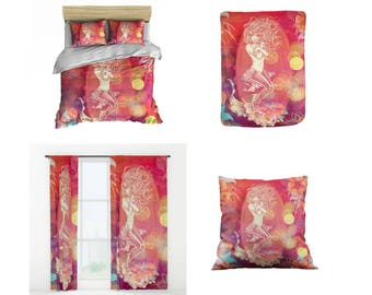 Tropical Mermaid Bedding,   Comforter or  Duvet Cover,Twin  Full Queen King, , Rug, Curtains, Throw Pillow,