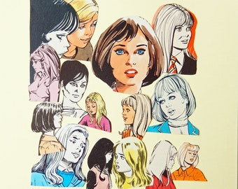 Retro Women Paper cut outs, Die cut style -  cardmaking, journaling,  scrapbooking,  smash books, embellishments PE362