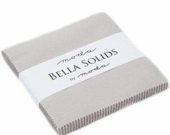 "Bella Solids Gray Charm Pack - Moda 9900PP-83 - 42 - 5"" Fabric Squares - Gray Pre-Cut 5 Inch Squares, Gray Charm Pack - Modern Gray Fabric"