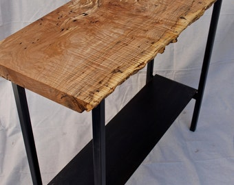 Live Edge fiddelback/spalted maple console table with steel base & shelf