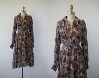 vintage 1970s dress / 70s jonathan logan dress / 70s boho dress / 70s muted florals dress / 70s floral print dress / 70s small dress