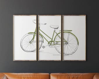 Printable Bicycle Art, Bicycle Wall Art, Bicycle Triptych, Contemporary Wall Art, Living Room Decor, Living Room Wall Decor, Living Room Art
