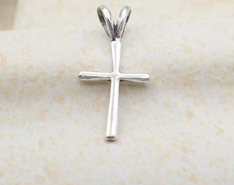 Small Cross Pendant Sterling Silver Dainty Cross Charm Religious