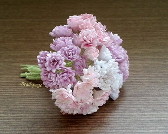 Dollhouse Miniature Flowers Bouquet Lilac Pink Purple Sweet Pastel Shabby Chic, 1/12 ~ 1/6 Scale Diorama Wedding, DIY Craft