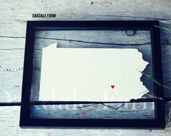 PENNSYLVANIA LOVE 11x14 Map Gift * Custom Framed Handmade Canvas Art * State City Moving Birthday Wedding Anniversary Graduation Engagement