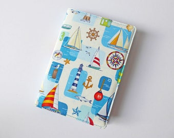 A6 Notebook Cover, Fabric Book Jacket, Diary Cover, A6 Planner Cover, Removable Book Sleeve, Yacht Print Cotton, Free UK Shipping, UK Seller