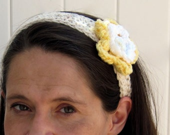 Crochet Flowered Headband/Fascinator