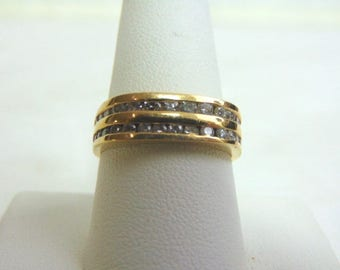 14K Mens Yellow Gold Ring w/ Diamonds, 5.9g  E3464