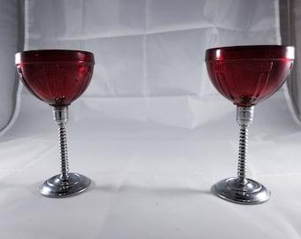 Four Vintage Art Deco Ruby Red Goblets with Metal Spiral Stem