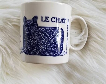 1970s Le Chat Coffee Mug, Cat Mug, 1978